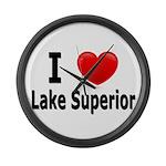 I Love Lake Superior Large Wall Clock