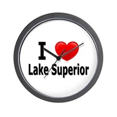 I Love Lake Superior Wall Clock