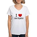 I Love Lake Superior Women's V-Neck T-Shirt