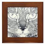 Vigilant Cat (blue) Framed Tile