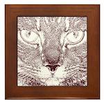 Vigilant Cat Framed Tile