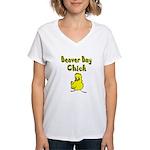 Beaver Bay Chick Women's V-Neck T-Shirt