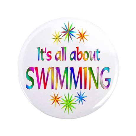 """Swimming 3.5"""" Button (100 pack)"""
