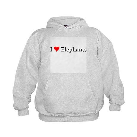 I Love Elephants Kids Hoodie