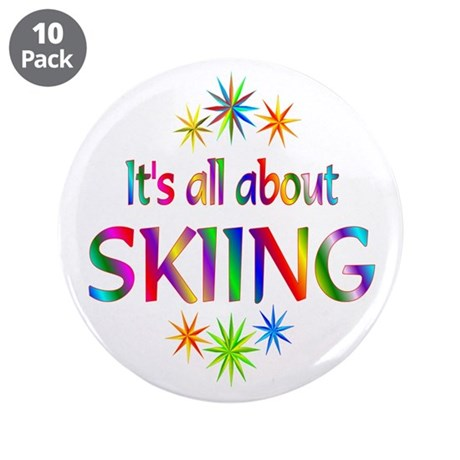 """Skiing 3.5"""" Button (10 pack)"""