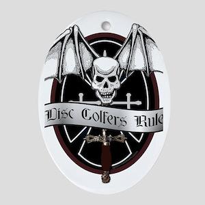 Disc Golfers Rule Oval Ornament