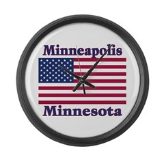 Minneapolis Flag Large Wall Clock