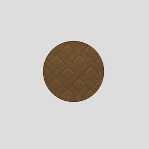 Brown Trellis Mini Button