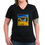 Akamas Hut - Cyprus Women's V-Neck Dark T-Shirt