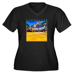 Beached Women's Plus Size V-Neck Dark T-Shirt