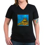 Pissouri Church Women's V-Neck Dark T-Shirt