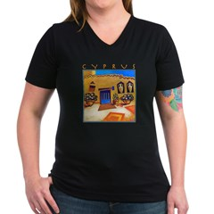 Cyprus, Neo Chorio Women's V-Neck Dark T-Shirt