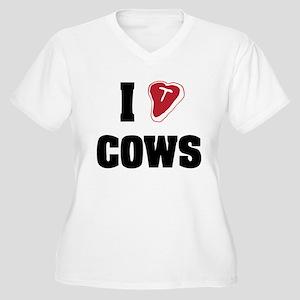 I Heart Cows Women's Plus Size V-Neck T-Shirt