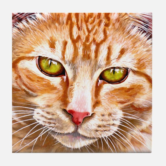 Orange Tabby Painting Tile Coaster