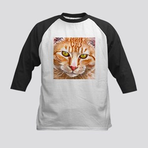 Orange Tabby Painting Kids Baseball Jersey