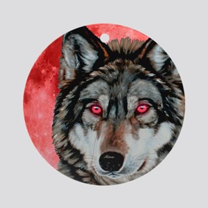 Red Moon Wolf Ornament (Round)