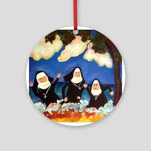 Funny Nuns Ornament (Round)