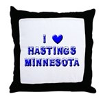 I Love Hastings Winter Throw Pillow