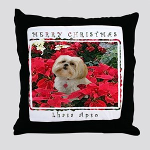 Lhasa Apso Blonde Christmas Throw Pillow