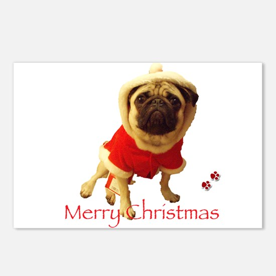 Cute Santa pug Postcards (Package of 8)