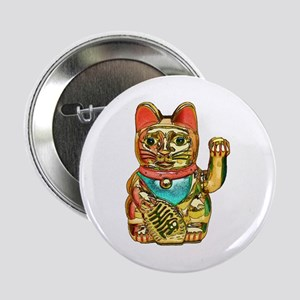 "Lucky cat, Maneki-neko 2.25"" Button"