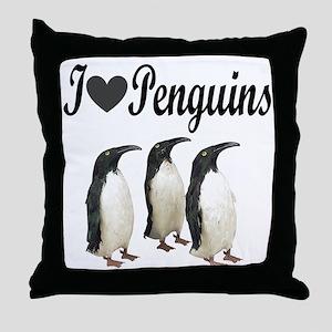 I LOVE PENGUINS Throw Pillow