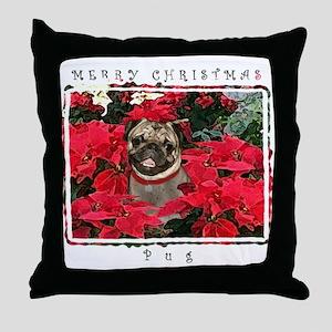 Pug Christmas Throw Pillow
