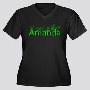 Amanda-grn Women's Plus Size V-Neck Dark T-Shirt