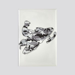 Camoflage Snowmobiler in Grey Rectangle Magnet