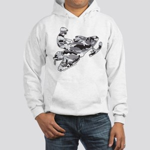Camoflage Snowmobiler in Grey Hooded Sweatshirt