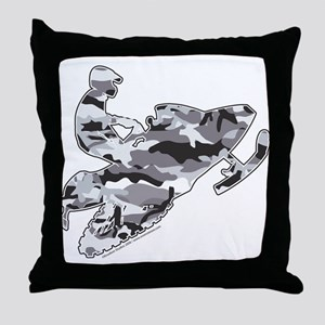 Camoflage Snowmobiler in Grey Throw Pillow