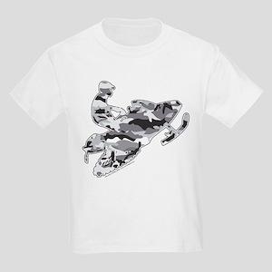Camoflage Snowmobiler in Grey Kids Light T-Shirt
