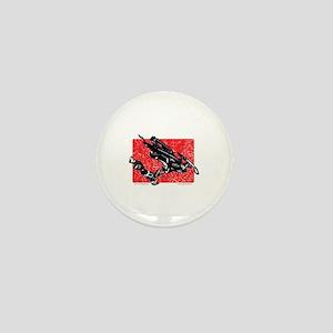 Gravity Snowmobiler in RED Mini Button