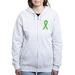 Lime Ribbon Women's Zip Hoodie