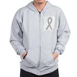 Gray Ribbon Zip Hoodie