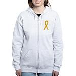 Gold Ribbon Women's Zip Hoodie