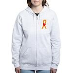 Orange Ribbon Heart Women's Zip Hoodie