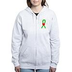 Lime Ribbon Heart Women's Zip Hoodie