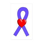 Periwinkle Ribbon Heart Rectangle Sticker 10 pk)