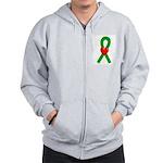 Green Ribbon Heart Zip Hoodie