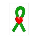 Green Ribbon Heart Rectangle Sticker 50 pk)