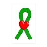 Green Ribbon Heart Rectangle Sticker 10 pk)