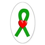 Green Ribbon Heart Oval Sticker (10 pk)