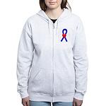 Blue Ribbon Heart Women's Zip Hoodie