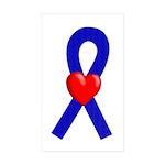 Blue Ribbon Heart Rectangle Sticker 10 pk)