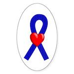 Blue Ribbon Heart Oval Sticker (50 pk)