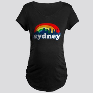 Sydney Rainbow Skyline Maternity Dark T-Shirt