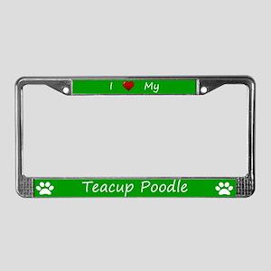 Green I Love My Teacup Poodle License Plate Frame