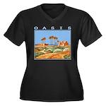 oasis Women's Plus Size V-Neck Dark T-Shirt