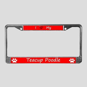 Red I Love My Teacup Poodle License Plate Frame